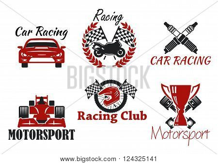 Motorsport and racing sport heraldic symbols for racing club or race competition design with racing cars and motorcycle, protective helmet and wheel, trophy cup and checkered flags, crossed pistons and spark plugs