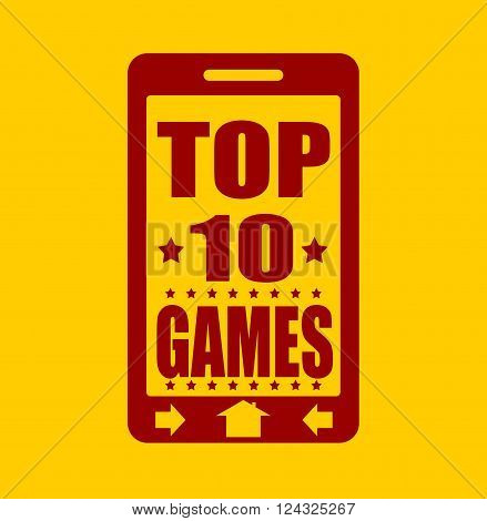 Top ten games text on phone screen. Abstract touchscreen with lettering.