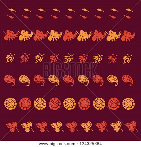 Vector India naive  traditional floral print  element for brush,  border