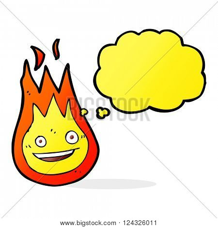 cartoon friendly fireball with thought bubble