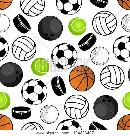 Sports balls and hockey pucks seamless pattern with colorful background of soccer or football, volleyball and tennis, basketball and golf, bowling and ice hockey pucks. Great for sport club interior, wallpaper or accessories design