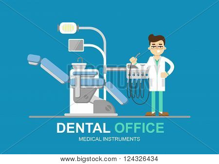 Dentist chair isolated. Dental office. Dental equipment. Modern flat illustration. Dentist office. Dental clinic. Medical equipment. Dentist doctor. Doctors office. Orthodontist. Dentist tools.