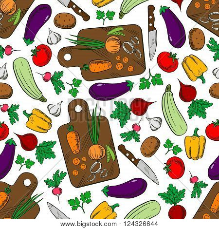Vegetarian spring salad seamless pattern of wooden cutting boards with knives and fresh carrots, onions and tomatoes, potatoes and bell peppers, eggplants and garlic, zucchini and peas, radishes, beets and parsley. Kitchen interior accessories or vegetari
