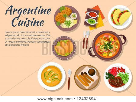 Dinner of argentine cuisine with cazuela and seafood, empanadas and vegetarian tortillas, soup locro with avocado and beef shank ossobuco, pork chop milanese, sauce boats with tuco and chimichurri sauces, hot chocolate with churros