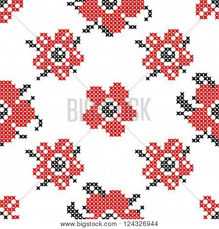 Seamless texture with abstract red flowers with for tablecloth. Embroidery. Cross stitch.