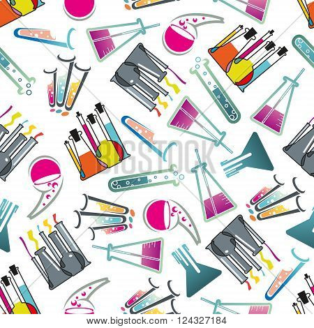 Chemical laboratory theme seamless pattern with test tubes, flasks and beakers filled with colorful liquids with bubbles randomly scattered over white background. Education, science, experiment and research theme design