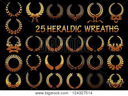 Golden laurel wreaths heraldic elements for victory theme or heraldry design usage with frames, composed of wheat ears and branches of laurel, maple and oak trees, decorated by ribbons
