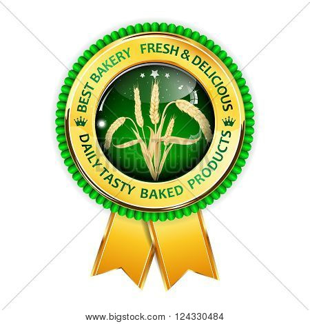 Best Bakery.  Fresh and delicious. Quality tasty baked products. Premium Quality award ribbon with realistic wheat.