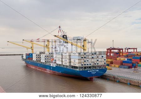 Buenos Aires Argentina - December 17 2012: Container Ship Niledutch Kudu at the Port of Buenos Aires Argentina. The Port of Buenos Aires is the principal maritime port in Argentina. It is the leading transshipment point for the foreign trade of Argentina.
