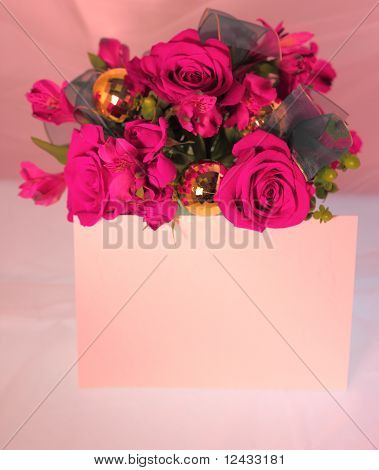 Pink Roses With Card