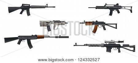 Vector illustration of a six machine guns