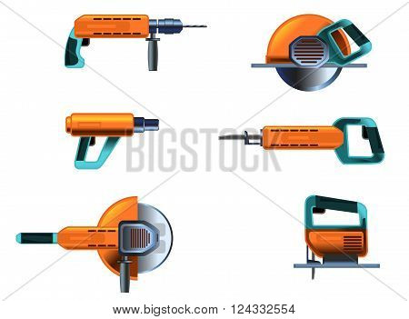 Vector illustration of a power tools set