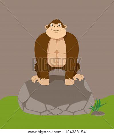 Cute cartoon gorilla on big stone. Vector illustration