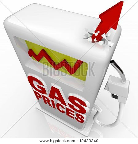 Gas Prices - Arrow Rising At Gasoline Pump