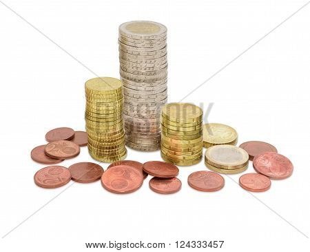 Euro coins from one cents to two euro on a light background coins some denominations are stacked in columns