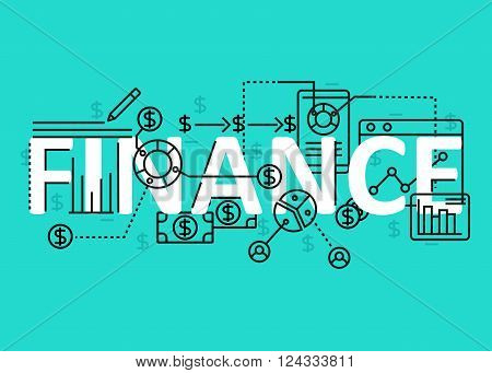Finance concept flat line design with icons and elements. Modern finance concept vectors collection. Thin line flat design banners for website and mobile website easy to use and highly customizable. Finance concept lettering