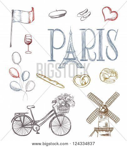 hand drawn paris symbols. tour eiffel french bakery mill bicycleflowers wine glass balloons flag