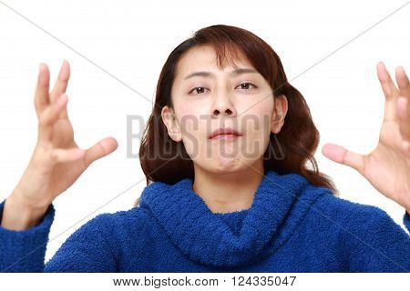 portrait of Asian woman with supernatural power