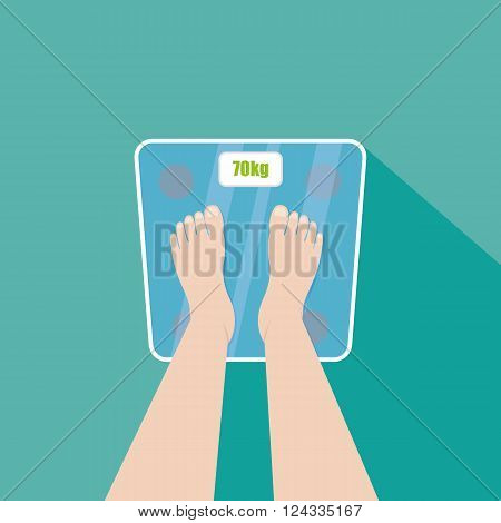 Man standing on the scale vector illustration isolated