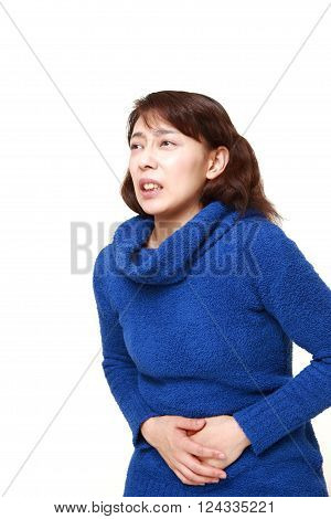portrait of Asian woman suffers from stomachache