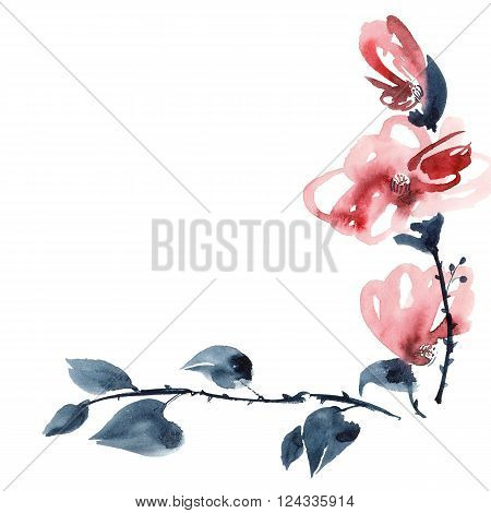 Watercolor and ink illustration of red flowers bouquet in style sumi-e u-sin. Background for greeting card. Oriental traditional painting.