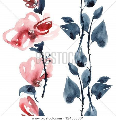 Watercolor and ink illustration of red flowers in style sumi-e u-sin. Oriental traditional painting. Seamless pattern.