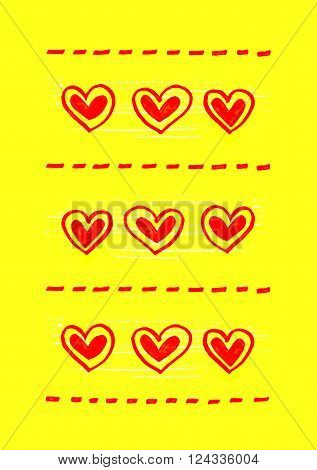 Bright yellow background with abstract red heart pattern
