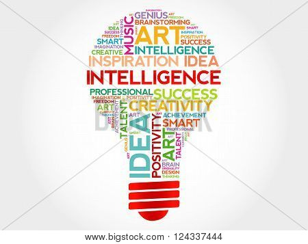 Intelligence bulb word cloud concept, presentation background