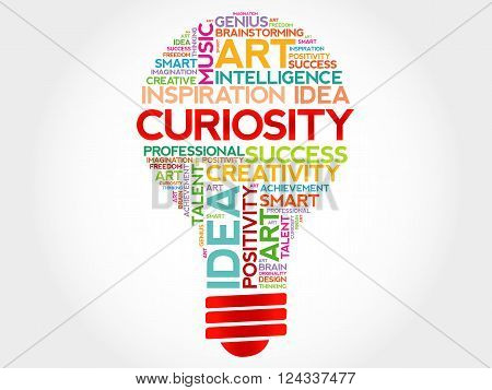 Curiosity bulb word cloud concept, presentation background
