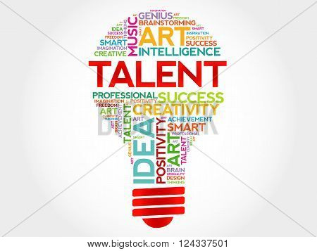 Talent bulb word cloud concept, presentation background
