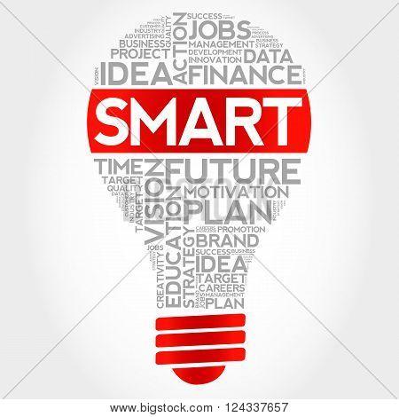 SMART bulb word cloud business concept, presentation background