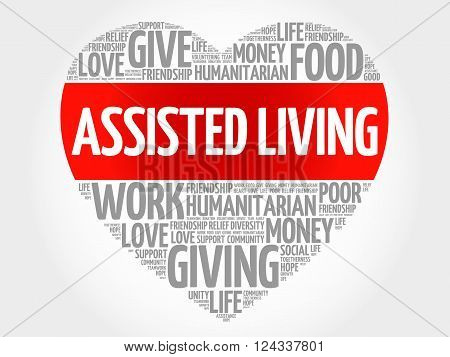 Assisted Living word cloud heart concept, presentation background