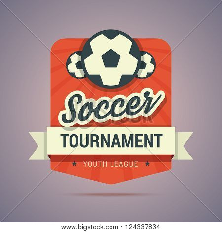 Soccer tournament badge - youth league. Vintage colors and flat style. Vector illustration.