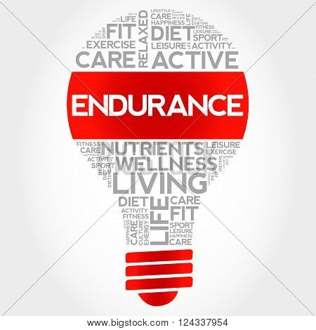 ENDURANCE bulb word cloud health concept, presentation background