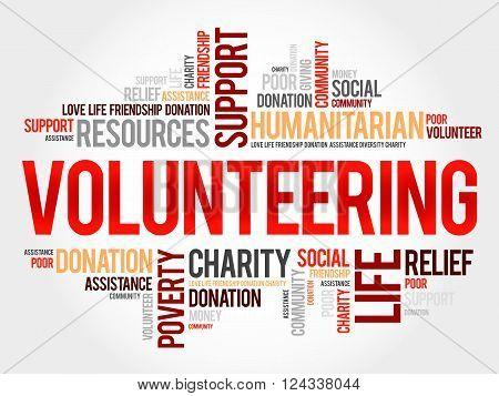 Volunteering word cloud collage concept, presentation background