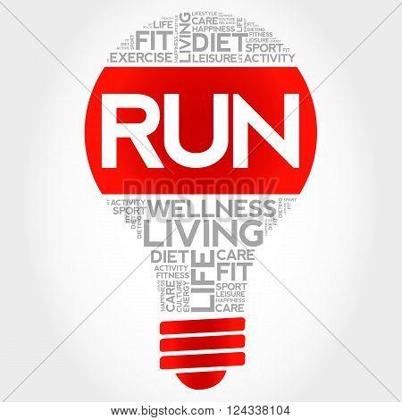RUN bulb word cloud health concept, presentation background