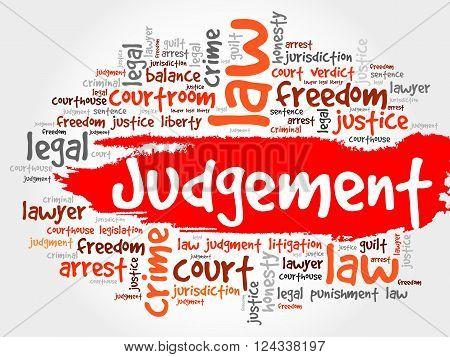 Judgement word cloud collage concept, presentation background