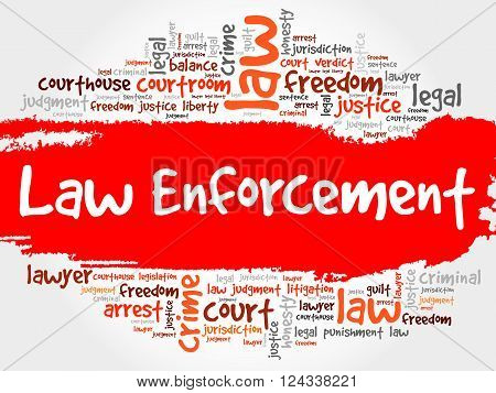 Law enforcement word cloud collage concept, presentation background