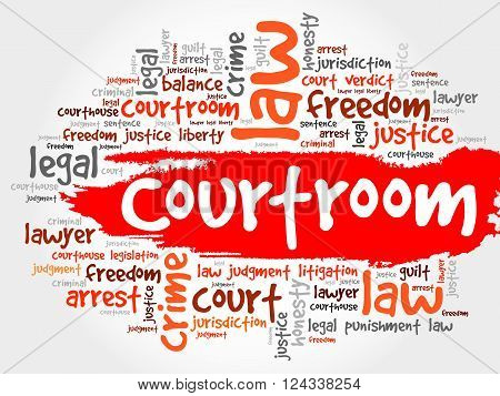 Courtroom word cloud collage concept, presentation background