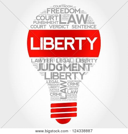 Liberty bulb word cloud concept, presentation background