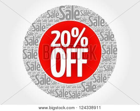 20% Off Stamp Words Cloud