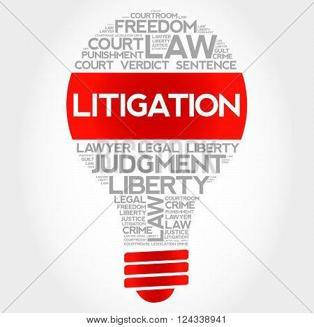 Litigation bulb word cloud concept, presentation background