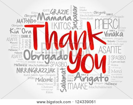 Thank You Word Cloud all languages, presentation background