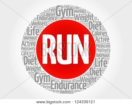Run Circle Stamp Word Cloud