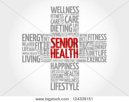 Senior Health Word Cloud, Health Cross Concept