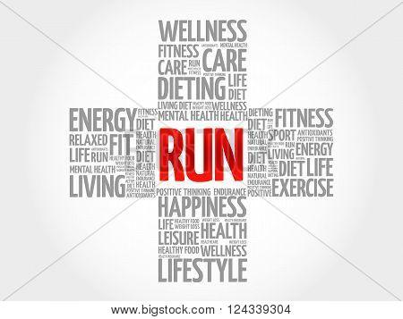 RUN word cloud health cross concept, presentation background