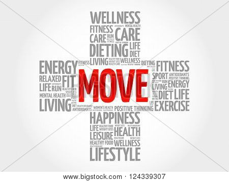 MOVE word cloud health cross concept, presentation background