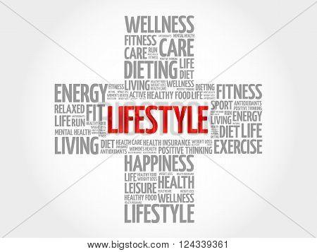 LIFESTYLE word cloud health cross concept, presentation background
