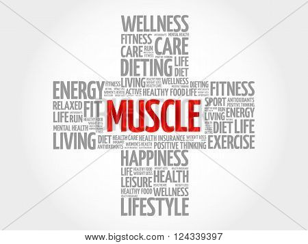 Muscle word cloud health cross concept, presentation background