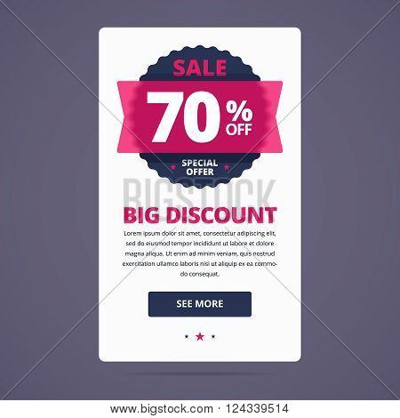 Big discount card with 70 percent off stamp, text and button. Vector illustration for web project.